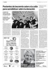"""Artículo sobre la Semana contra la Leucemia 2012 en """"Diario de Navarra"""""""