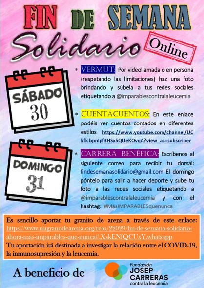 Cartell Fin de semana solidario online