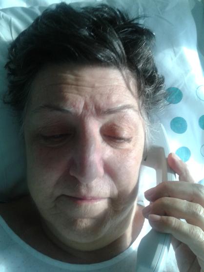 En el hospital, después del trasplante, y justo antes de que se me cayese el pelo.