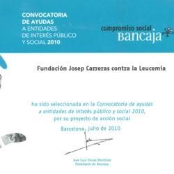 Acreditación donativo Bancaja