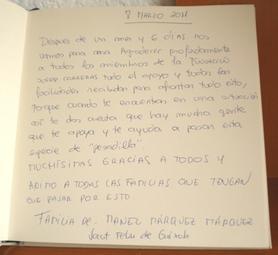 Libro de visitas Manuel Márquez