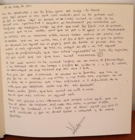 Libro de visitas hija Josep Torras